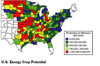 Figure 1. US Biomass Energy Potential from: Daniel G. De La Torre et al. The Economic Impacts of Bioenergy Crop Production in U.S. Agriculture, 1999.