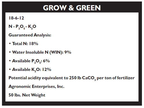 Sample fertilizer label