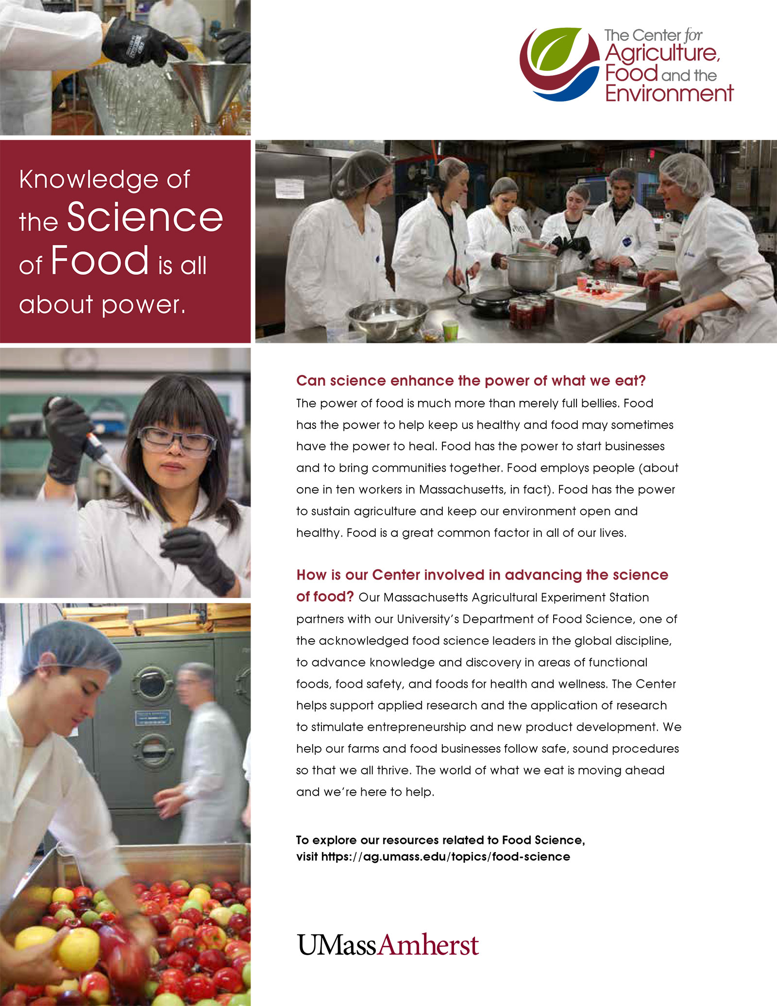 Food Science insert for CAFE promotional material