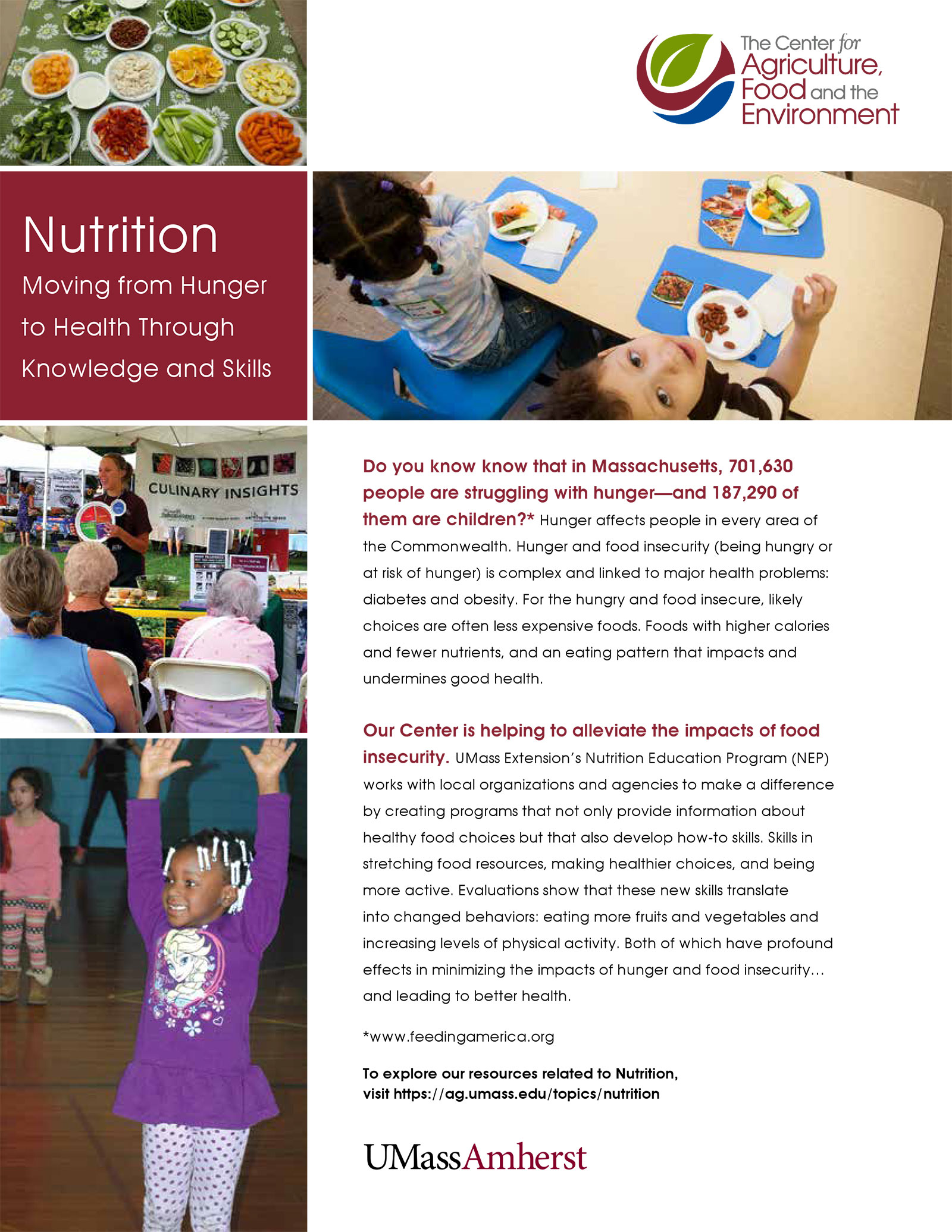 Nutrition insert for CAFE promotional material