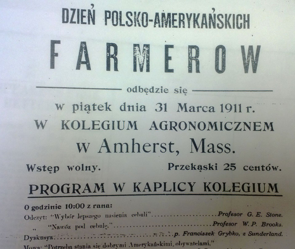 "This poster advertised the first Polish language ""Farmers' Day,"" held in 1911."