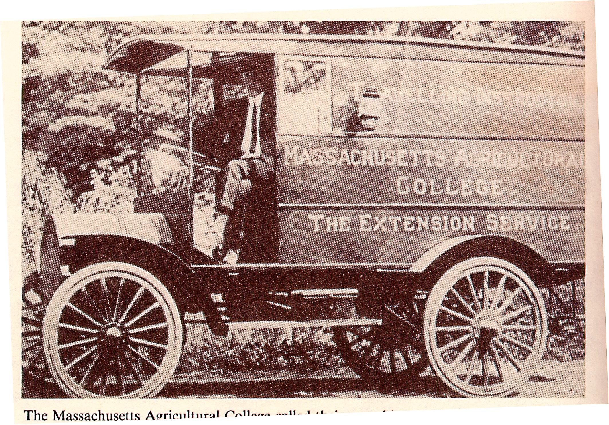 Archival photo of Massachusetts Extension Service mobile teaching unit