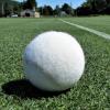 A white tennis ball on a grass court