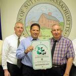 Sutton's Board of Selectmen displays Green Communities sign