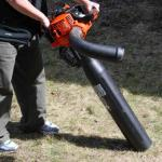The Echo ES255 leaf blower converted to a vacuum shredder.