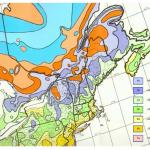 Fig. 1B.  Plant cold hardiness zone map for northeastern North America (adapted from Cathey 1990, for the period 1974-1986.) (Winter moth has been in Nova Scotia since the 1930s, but we think it was confined there by the cold winter temperatures in New Brunswick, which prevented spread to the rest of North America until now. Reprinted from Elkinton et al. 2010, Ann. Ent. Soc. Amer. 108:135-145).