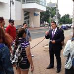 Dominic Sarno, Mayor of Springfield, talks with UMass students