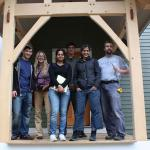 Students with Simi Hoque, on a field study to test                    Diagram for city modeling tool including inputs  the energy conservation strategies of a local building