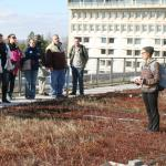 Lauren Healey, student, Natural Reserouces Conservation, leads tour of green roof