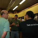Jim McGovern and Scott Soares meet with farmer Joe Boisvert, North Hadley Sugar Shack