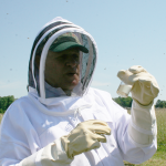 John LeBbgeaux holds varroa mites, an issue for colony collapse disroder