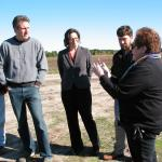 l to r, Secretary Jay Ash, Dean Tricia Serio, Farm Manager Bob Skalbite and retired Cranberry Station Director Carolyn DeMoranville