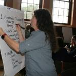 Christine Hatch records group discussion on flipchart