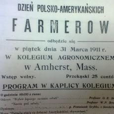 Poster from first Polish-American Farmer's Day at Mass Aggie, 1911