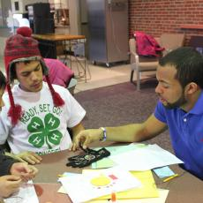 4-H kids with textile project
