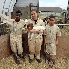 4-H kids with goat