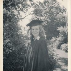 Alice Wysocki, graduation day 1948, member of the first class of the newly-renamed University of Massachusetts.