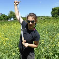 Alicia Zolondick samples soil for nematodes