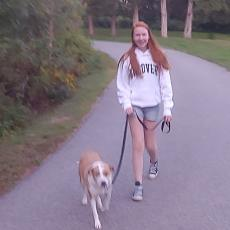Walk Across America with 4-H -Allie walks dog Lucy