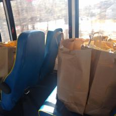 Bags of food in place of people. They are transported to hungry people across Cape Cod