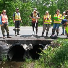 Volunteers assessing culvert flow