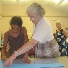 Lorraine Fraser, long-time 4-H volunteer teaches sewing at 4-H classes on Cape Cod