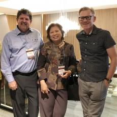 Eric Decker (L), Pavinee Chinach and Julian McClements (R) in Bangkok,Thaliand at world conference
