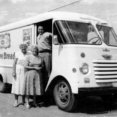 Truck delivers bread to suburban neighborhoods in the 1950's