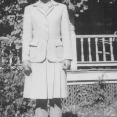 Peg Randall in the first tailored wool suit she made at age 16