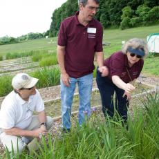 Mary Owen, turf team leader, points out characteristics of grass to Jeff Doherty and John Clark