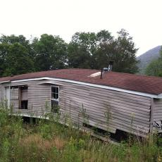 Mobile home sustained damage from Hurricane Irene