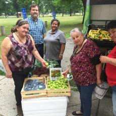 Shoppers at mobile market in Springfield, July 2016