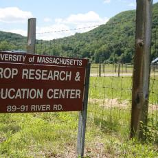 Welcome sign for South Deerfield Crop & Animal Research and Edcuation Center