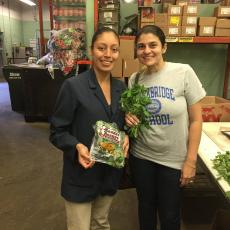 Zoraia Barros (r ) with Guatemalan employee holding UMass-Amherst grown chipilin at Market Basket, Chelsea, Mass.