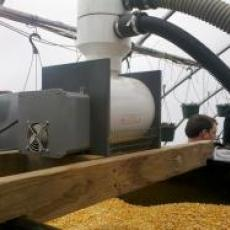 Corn vac feeding the hopper at Farmer Dave's