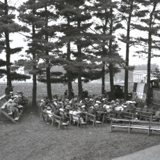 1922 farmers meeting at Mass Aggie on bleachers
