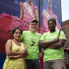 Priya Nadkarni, Michael DiPasquale and Andrae Green with newly painted mural on Taylor Street, Springfield
