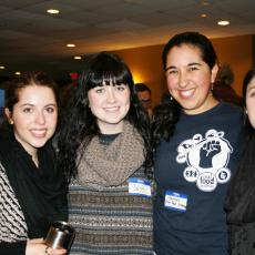 Hannah Weinronk of the Real Food Challenge at UMass Amherst (third from left), with fellow undergraduates.
