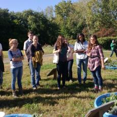 Summer intern, Cassie Sefton leads tour of Ag Learning Center