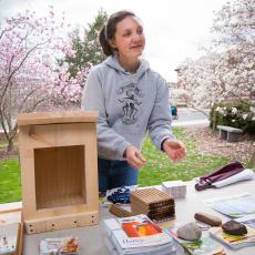 Laura Doubleday, Fernald Club, Co-President describes pollinator hotels