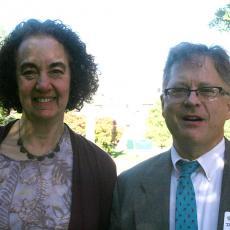 Deb Phillips, BOPO member chats with Joe Shoenfeld, Associate Director, Extension