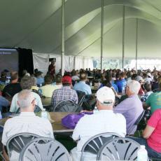 Dr. Dirr lectures under the big tent to an appreciative crowd
