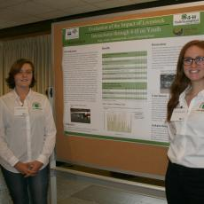 Haley Goulet and Samantha Kelm at 4-H project poster