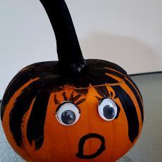 Hasini Meruva won the best painted pumpkin award