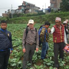 Wick and Nepalese farmers examining stunted plants