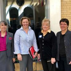 l to r: CAFE Director Jody Jellison, Representative Natalie Blais, retired Extension Agriculture leader Kathy Carroll and Representative Mindy Domb.