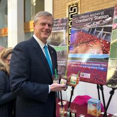 Governor Baker at the UMass Extension booth at Ag Day.
