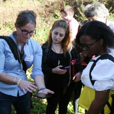 Lena Fletcher, lecturer, UMass Dept of Environment Conservation uses smartphone app