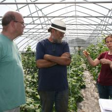Simple Gifts Farm tour with farmer Dave Tepfer, Katie Campbell-Nelson, UMass Vegetable Extension Educator and Scott Soares, USDA Rural Development