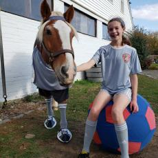 Lizzie Trip won for best partner costumes. She made her horses costume to match her own